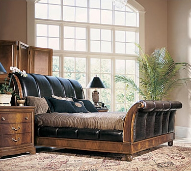 Leather Sleigh Platform Bed